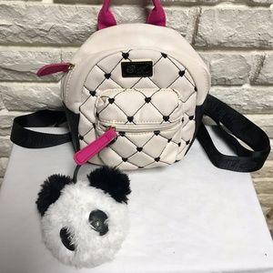 Luv Betsey Johnson mini backpack purse panda charm